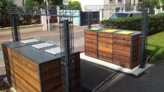Abri pour conteneurs tri des déchets