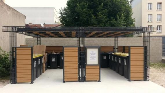 Aire regroupement conteneurs mobilier urbain