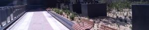 mobilier urbain banc avec fleurissement et végétalisation